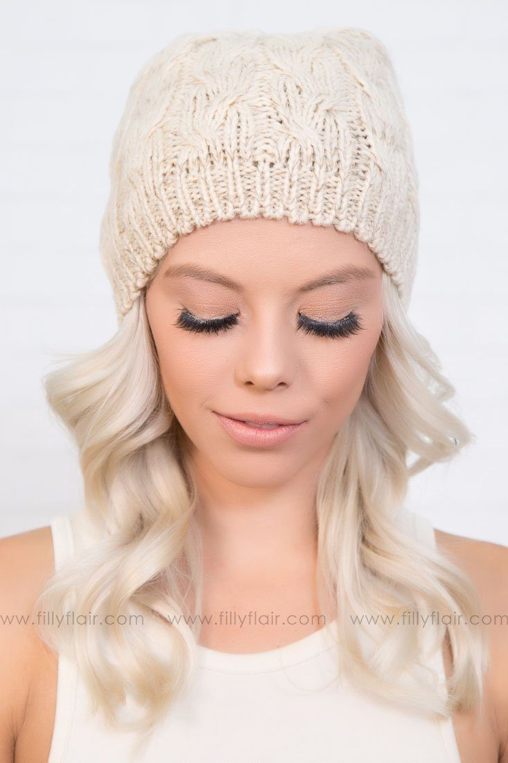 Ice Rink Knit Cap in Beige