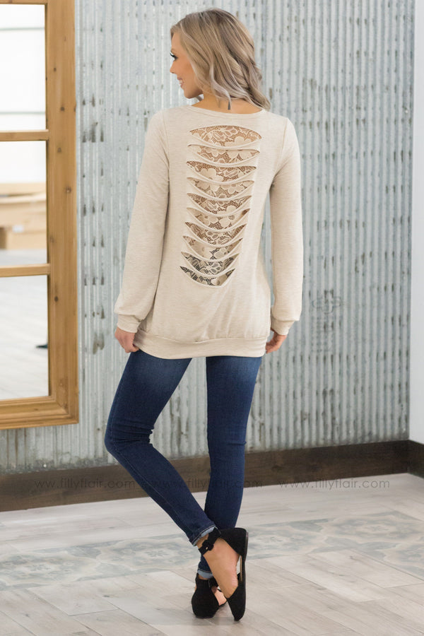 Sneak A Peek Razor Cut Lace Back Long Sleeve Top in Oatmeal - Filly Flair