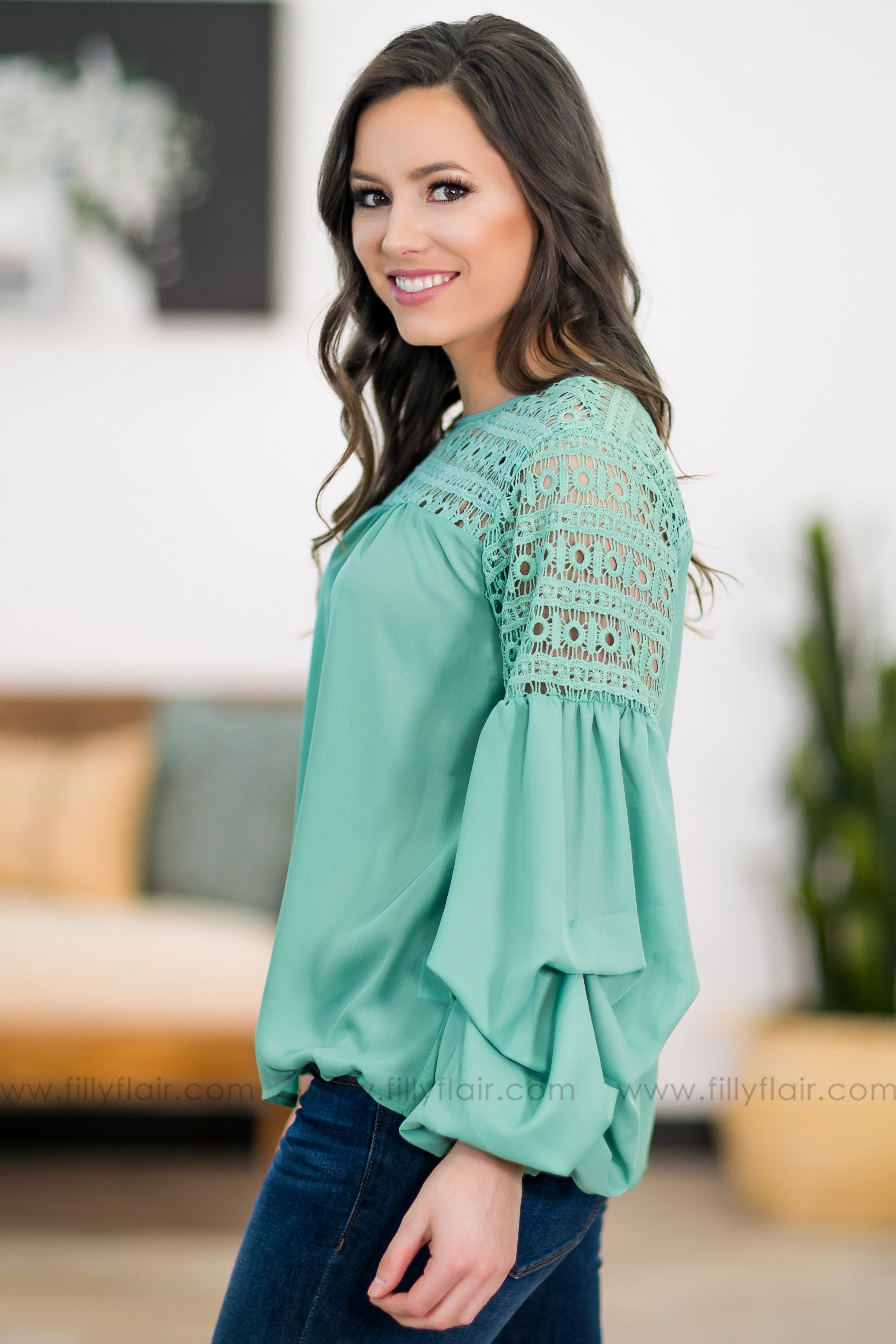 Sweet Sayings Long Bell Sleeve Crochet Detail Top in Mint - Filly Flair