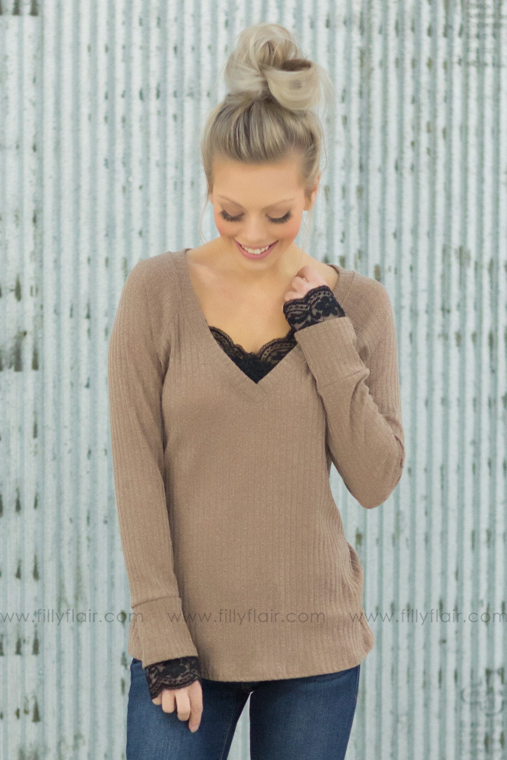 When You're Gone V-Neck Lace Detail Top In Mocha - Filly Flair