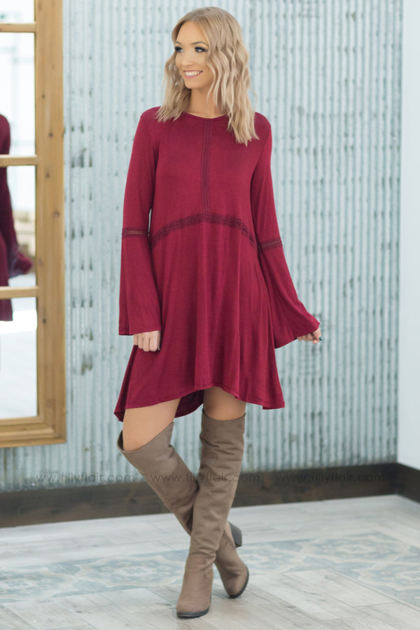 *112118 All You Want Is Me Long Sleeve Crochet Detail Dress in Burgundy - Filly Flair