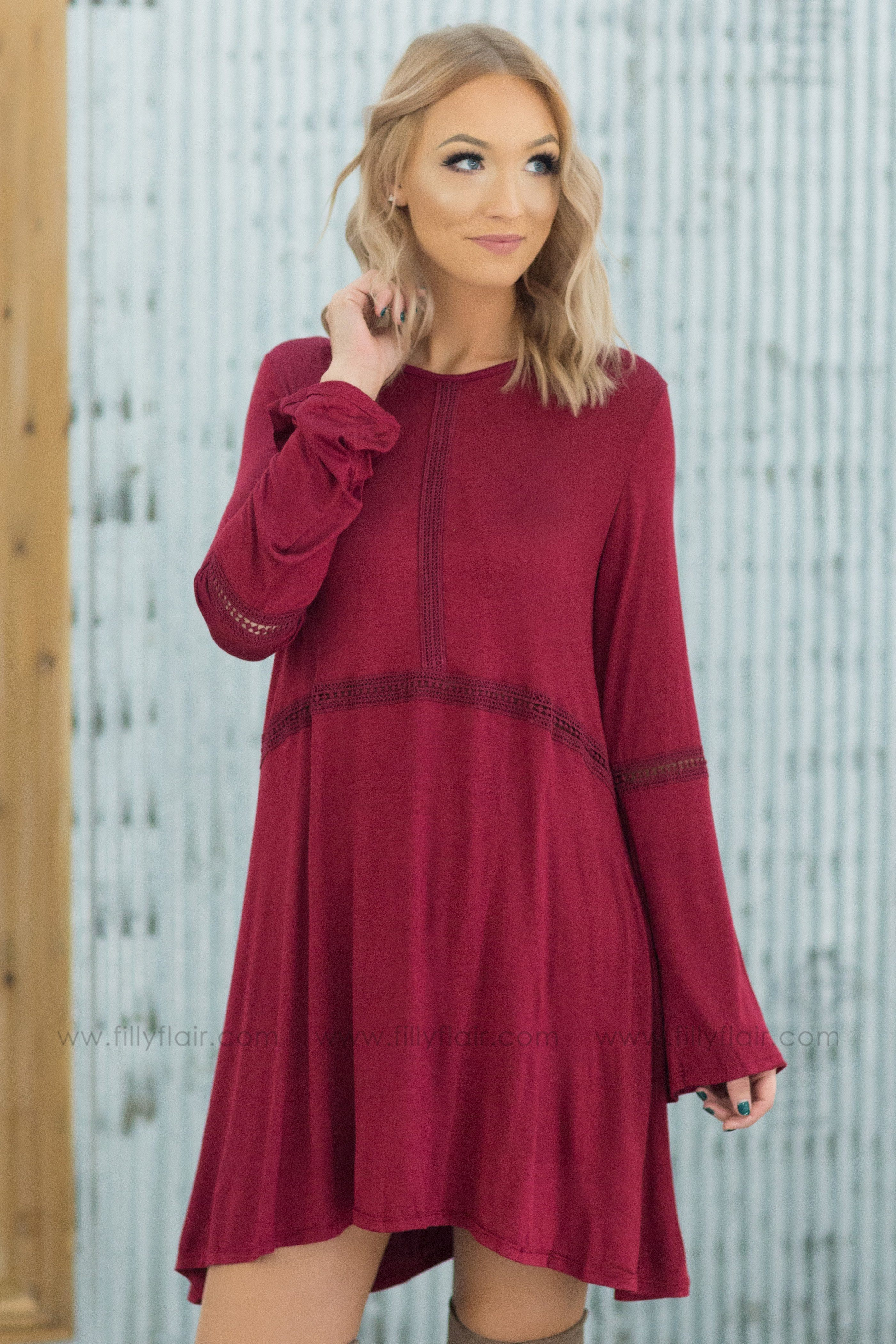 All You Want Is Me Long Sleeve Crochet Detail Dress in Burgundy - Filly Flair