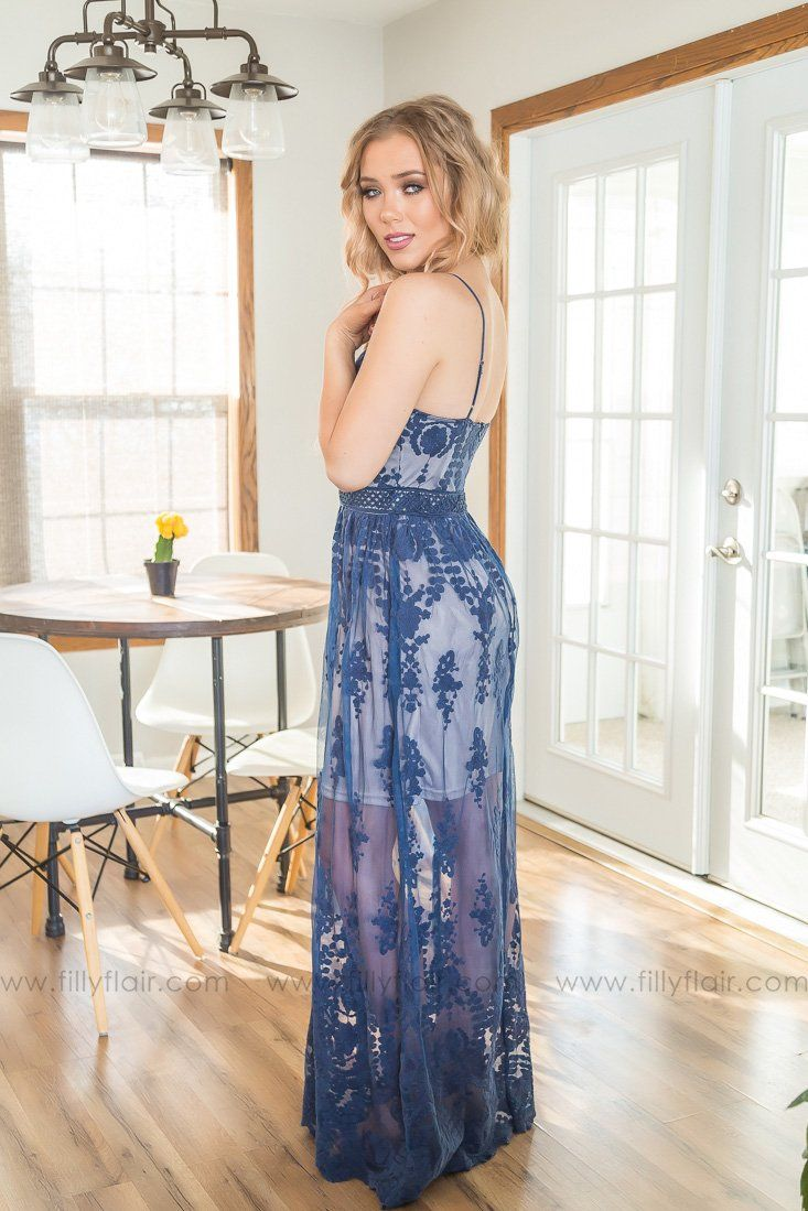 Swept Away Lace Nude Maxi Dress In Navy