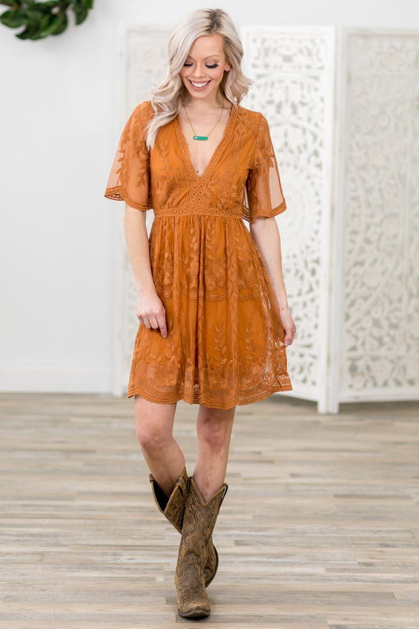 Only A Memory Short Sleeve Lace Dress in Rust - Filly Flair