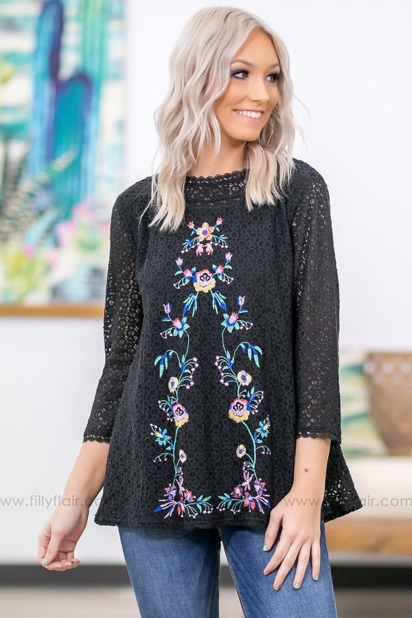 Believe In Me 3/4 Sleeve Floral Embroidery Lace Top in Black - Filly Flair