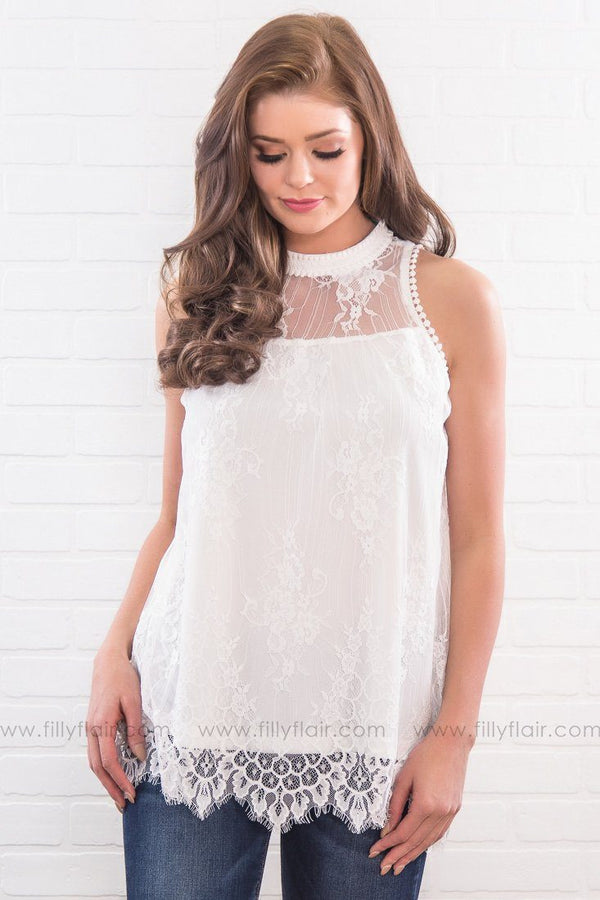 No One Like You Lace High Neck Top In White