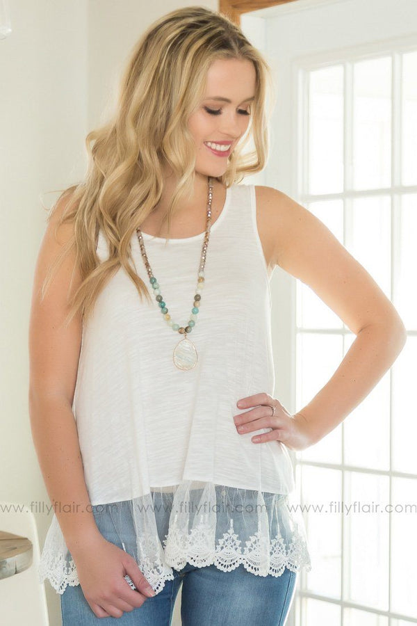 Lost Without You Lace Hem Tank Top In White - Filly Flair