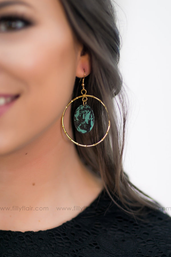 My Best Shot Gold Hoop Turquoise Pendant Earrings - Filly Flair