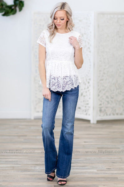 The Name of The Game Short Sleeve Lace Peplum Top in White - Filly Flair