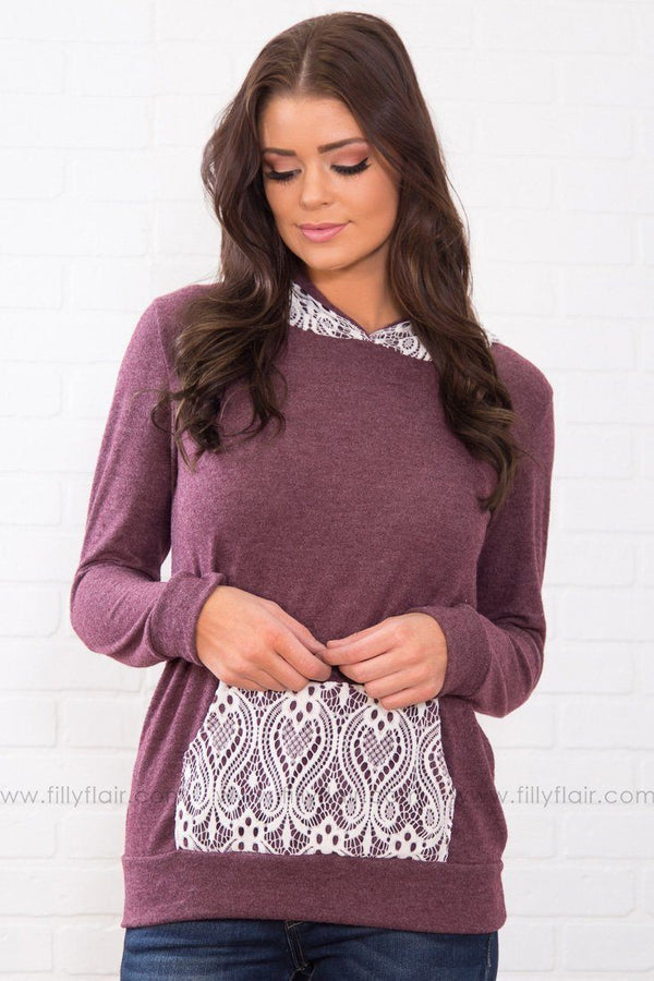 In Love With Lace Long Sleeve Hoodie In Burgundy