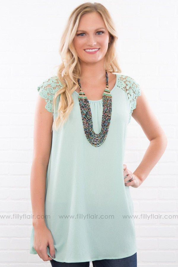 There You Are Short Sleeve Lace Tunic In Mint