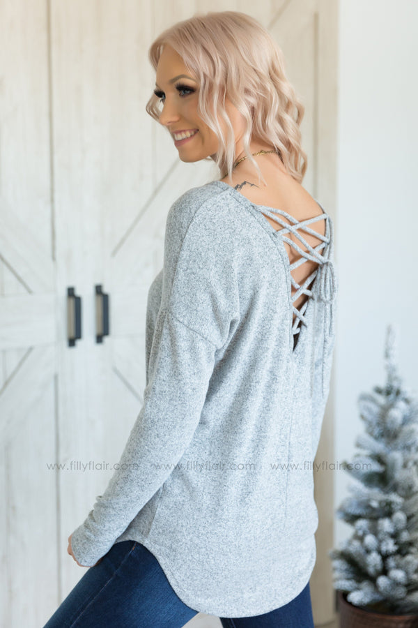 Crossing Over Long Sleeve Lace Up Back V-Neck Top in Heather Grey - Filly Flair