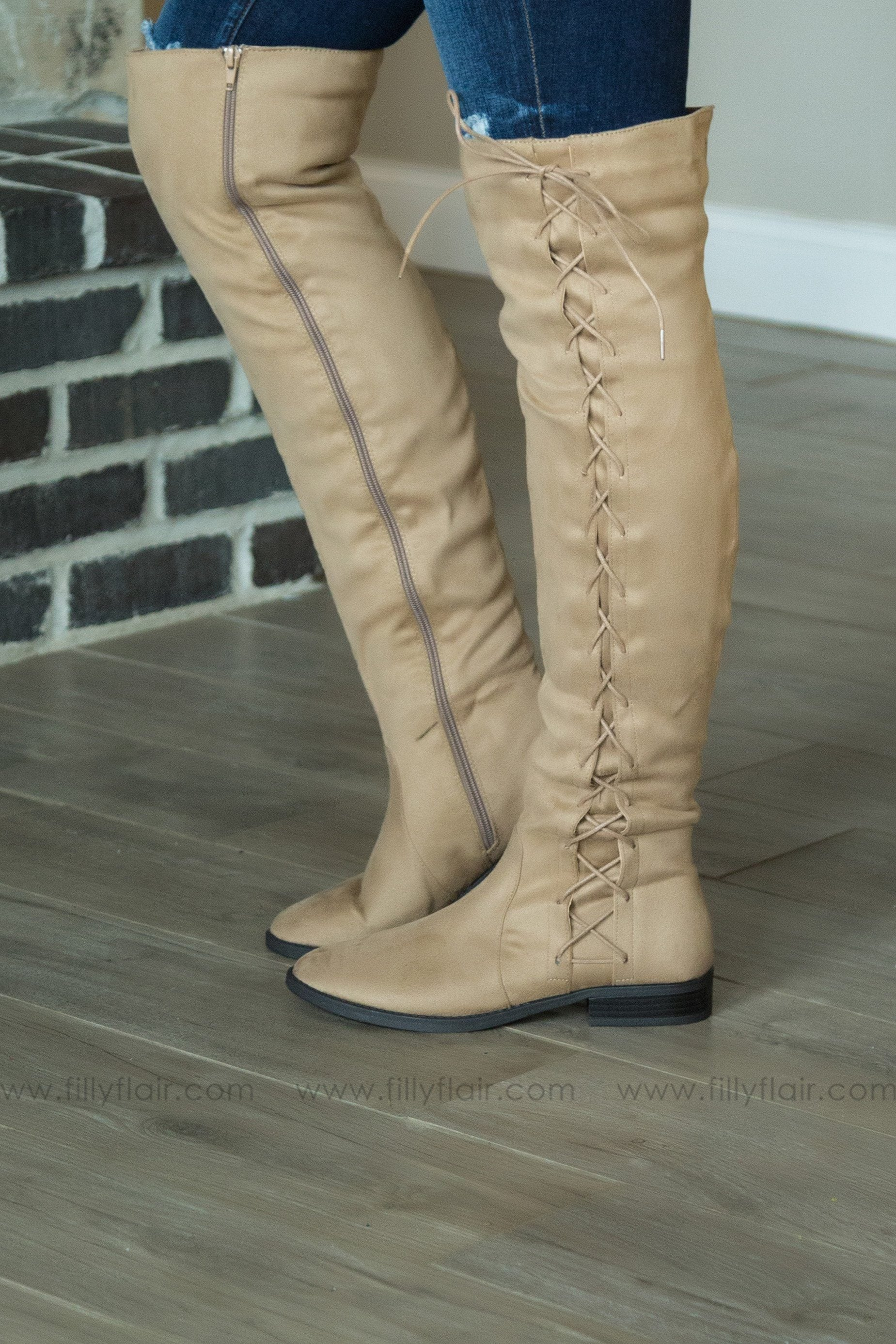 Lace Me Up Tall Boots In Taupe - Filly Flair
