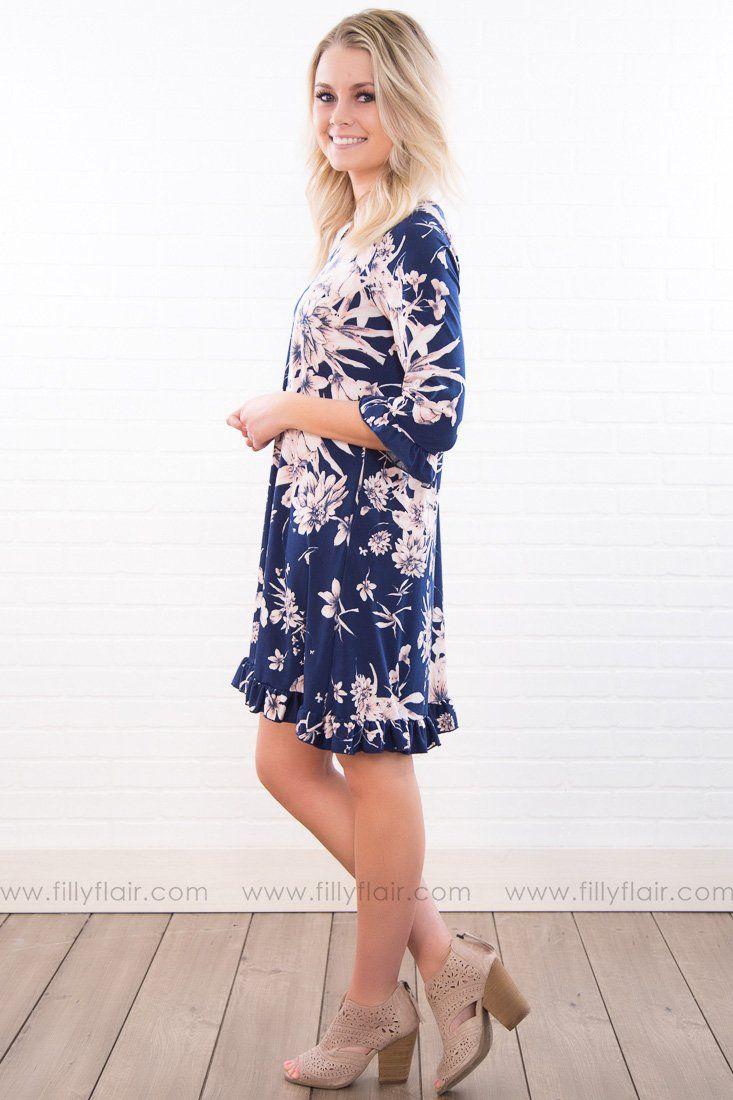 How Love Gets In Floral Ruffle Dress In Blush Navy