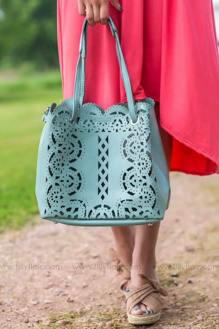 I Fell For You Laser Cut Satchel Hand Bag In Robin's Egg Blue - Filly Flair