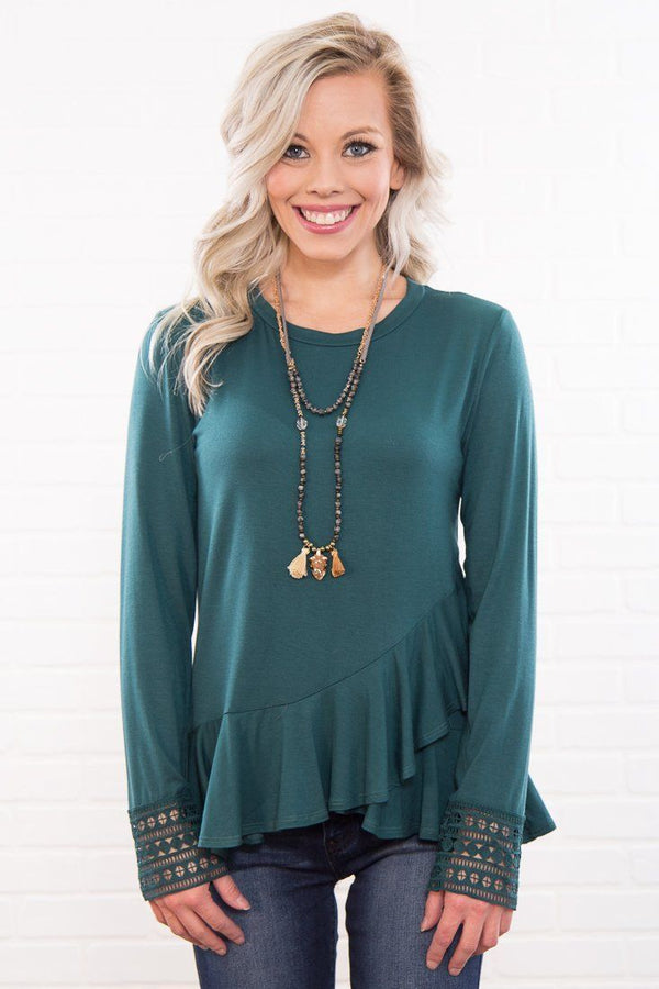 Laura's Favorite Lace Sleeve Peplum Top in Ranger Green