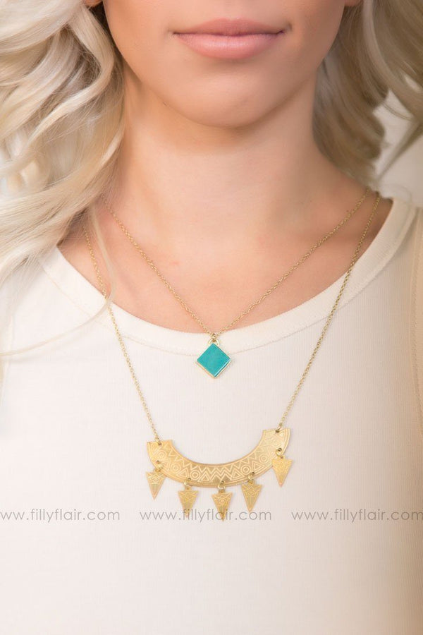 Surya Layered Necklace In Gold Turquoise