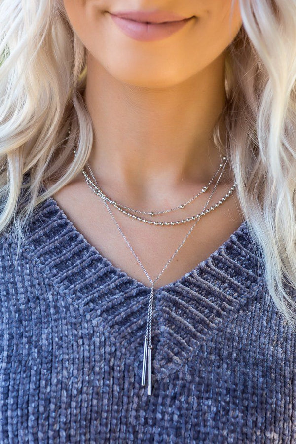 Here I Am Silver Layered Bar Necklace - Filly Flair