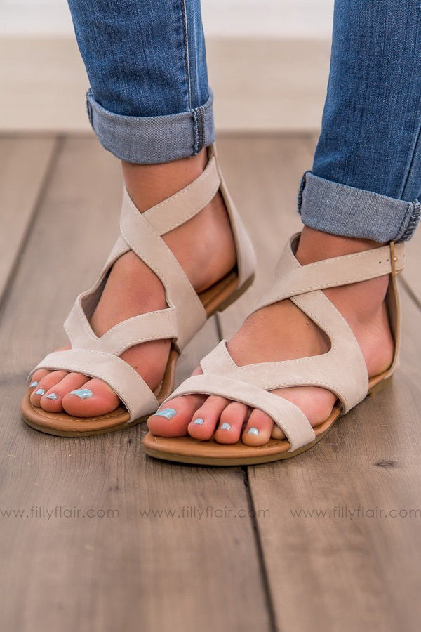 Strike A Chord Strappy Sandal In Beige