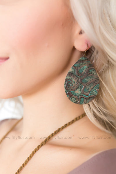 Western Floral Leather Teardrop Earrings in Teal Brown - Filly Flair