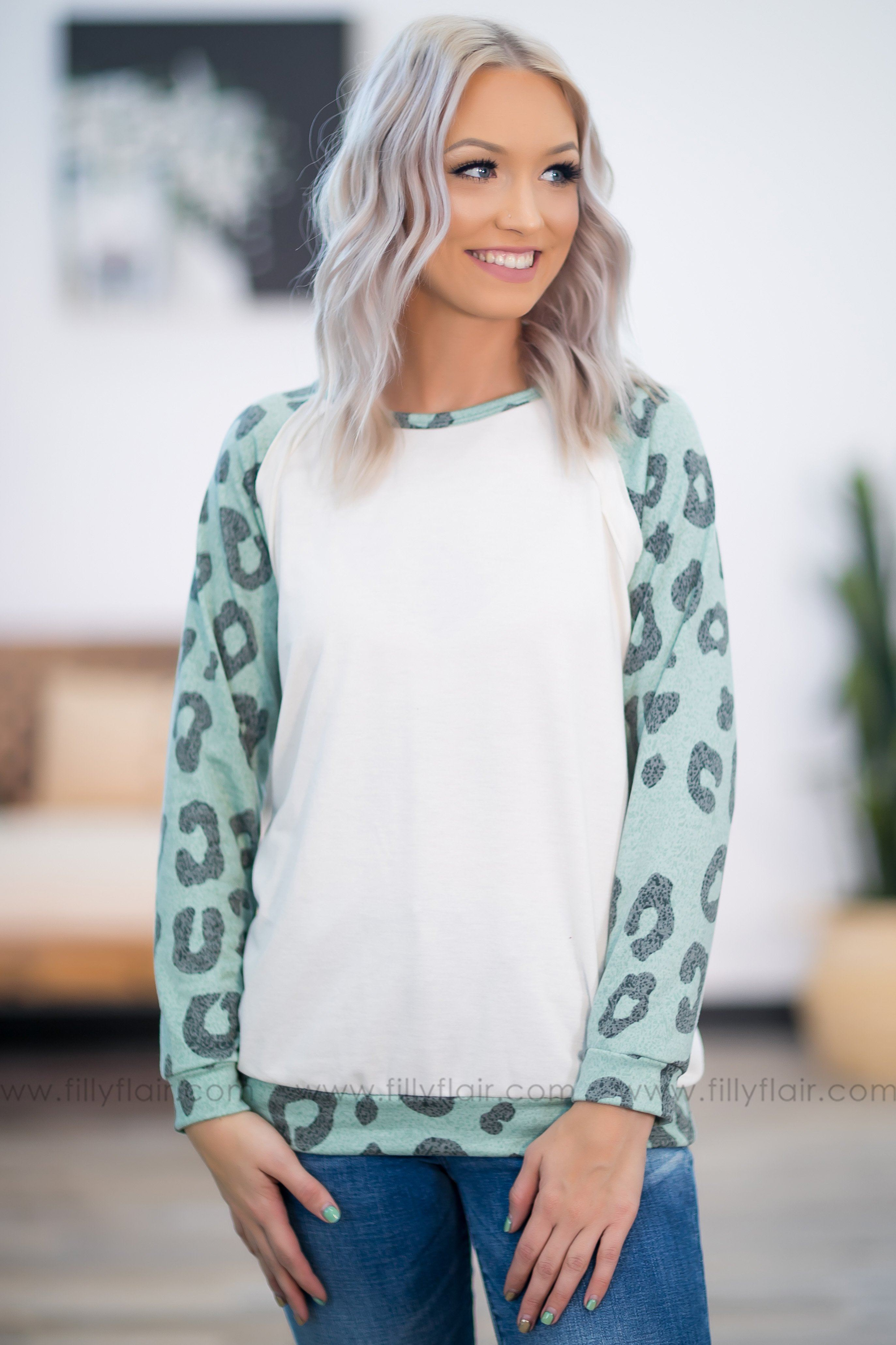 I'll Be Here Leopard Long Sleeve Off White Top in Mint - Filly Flair