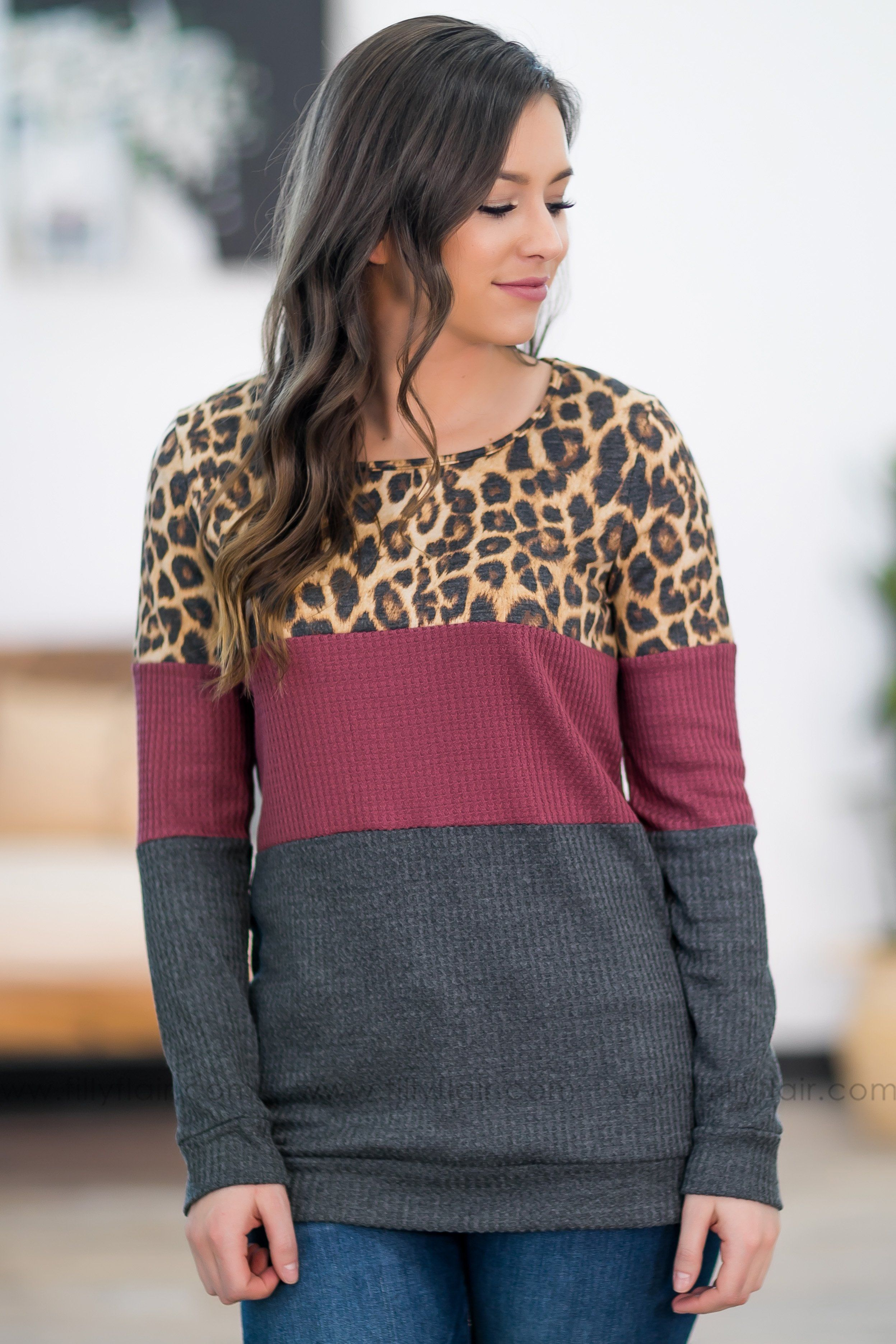 Wild and Free Long Sleeve Leopard Color Block Top - Filly Flair
