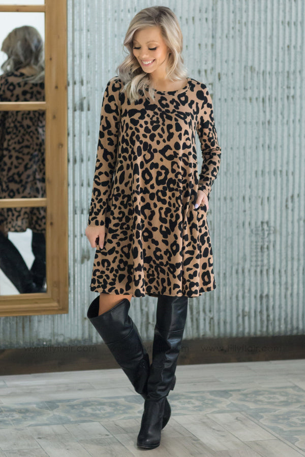 Wild and Free Long Sleeve Leopard Print Dress - Filly Flair