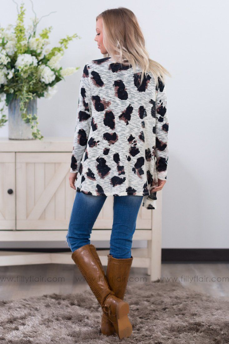 Go Wild Leopard Print Cardigan in Ivory - Filly Flair