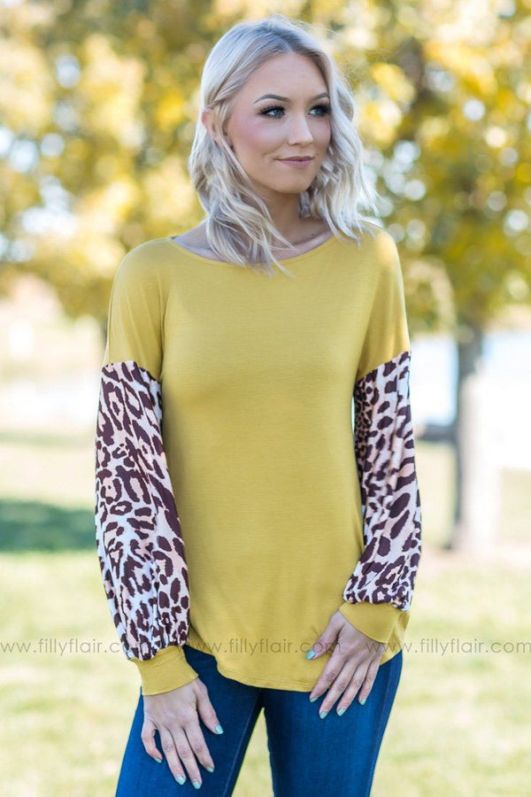A Little Wild Leopard Sleeve Top in Mustard - Filly Flair