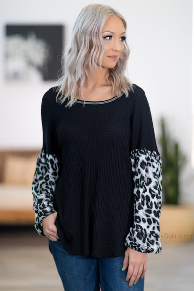 It Will Be Alright Leopard Long Sleeve Thermal Top in Black - Filly Flair