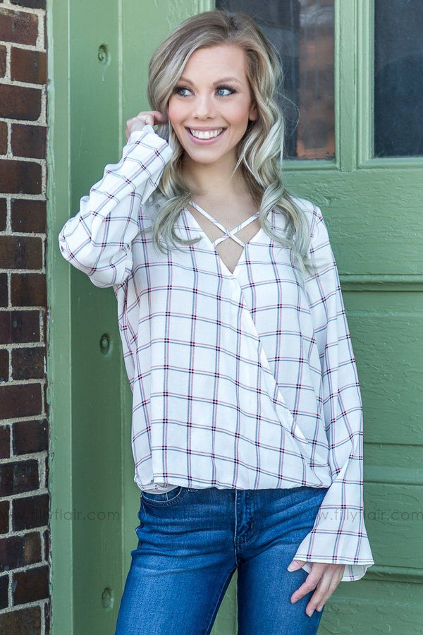 Small Town Girl Plaid Criss Cross Top In Ivory