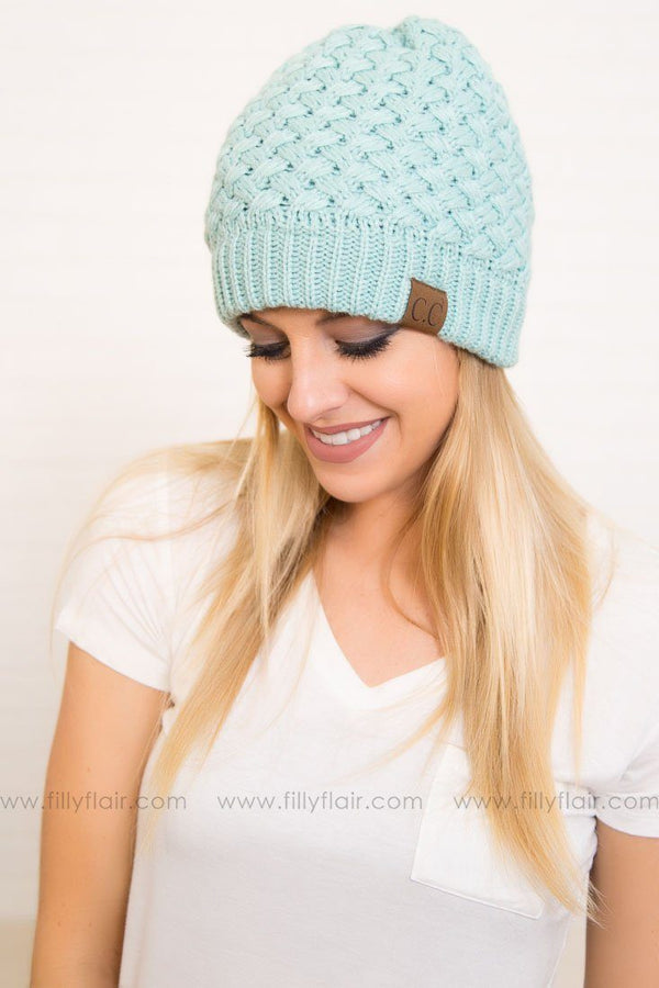 CC Knitted Beanie Hat in Mint