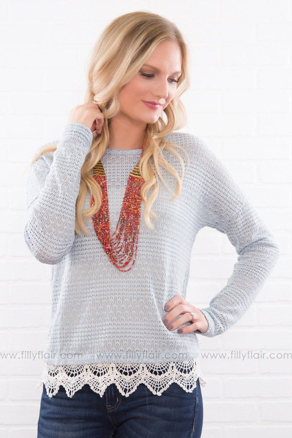 A Safe Place Crochet Lace Top In Dusty Blue