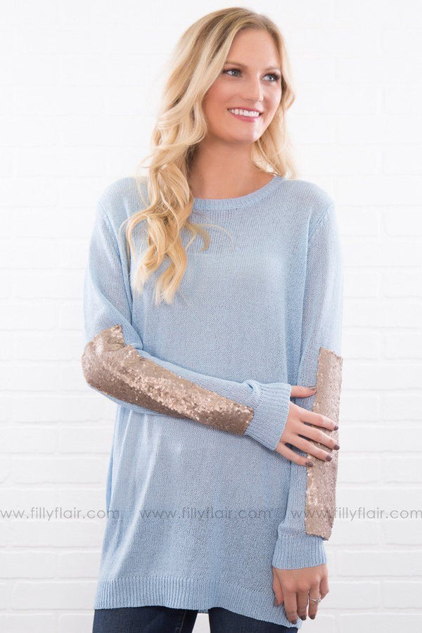 Please Remember Me Gold Sequin Tunic In Dusty Blue