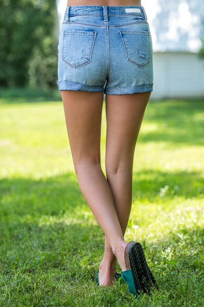 Nowhere To Be Light Wash High Rise Rolled Jean Shorts - Filly Flair