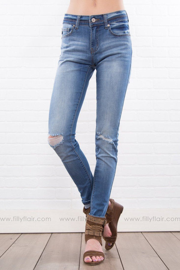 Kelly Kan Can Medium Wash Knee Distressed Skinny Jeans - Filly Flair