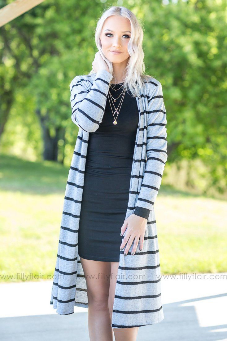 It's The Simple Truth Striped Long Cardigan in Grey - Filly Flair