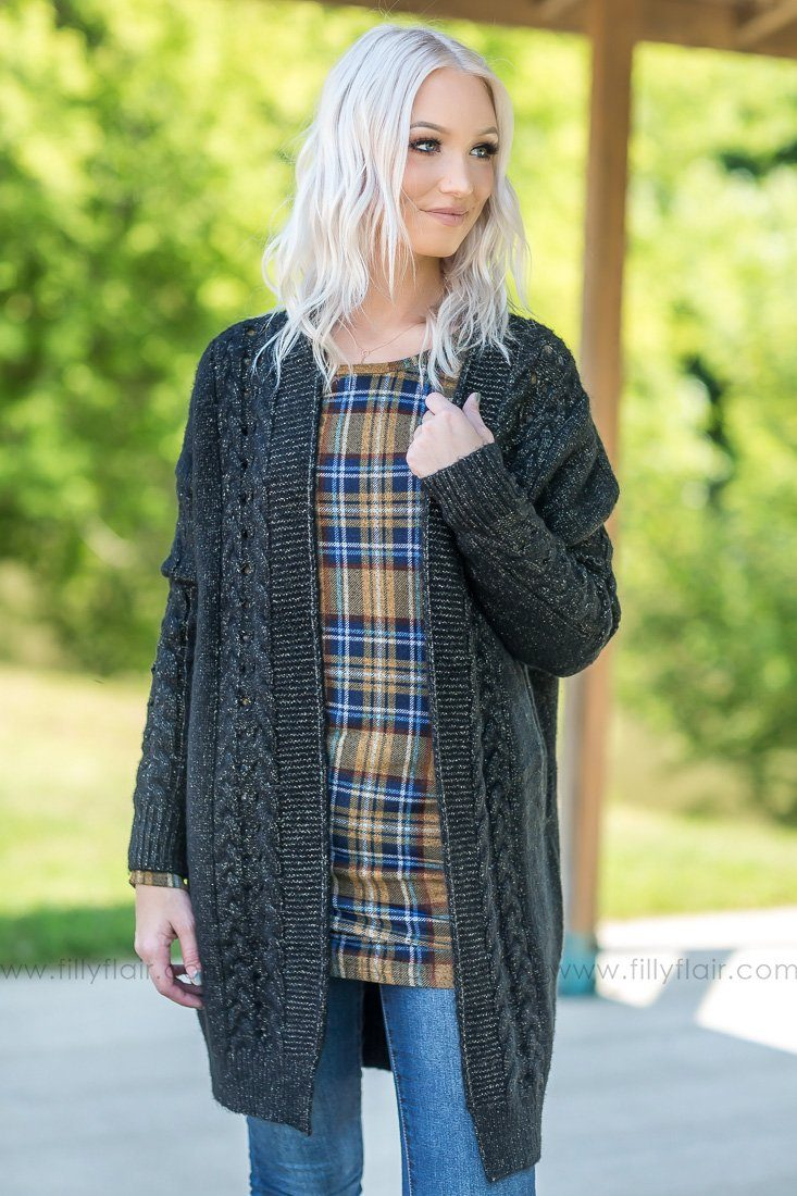 Cozy Up Sweater Cardigan in Black - Filly Flair