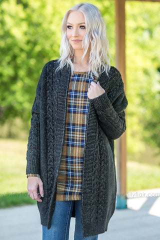 Ready to Fall Blanket Scarf in Grey Mustard Plaid