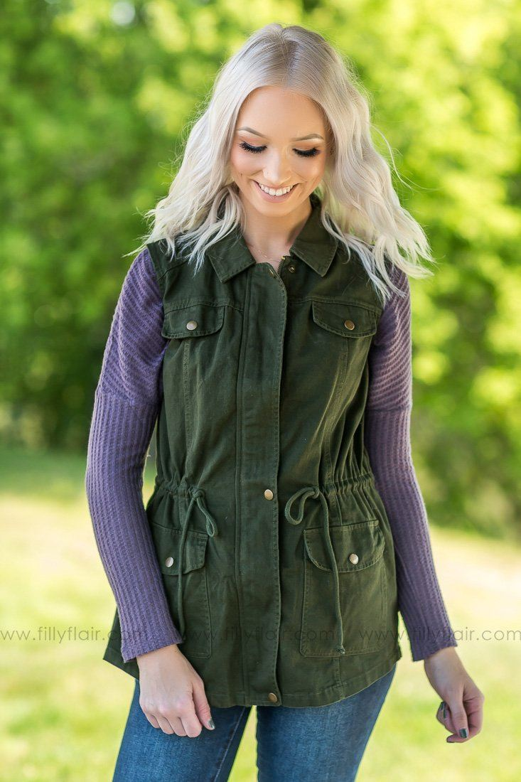 Love Yourself Sleeveless Embroidered Vest In Olive - Filly Flair