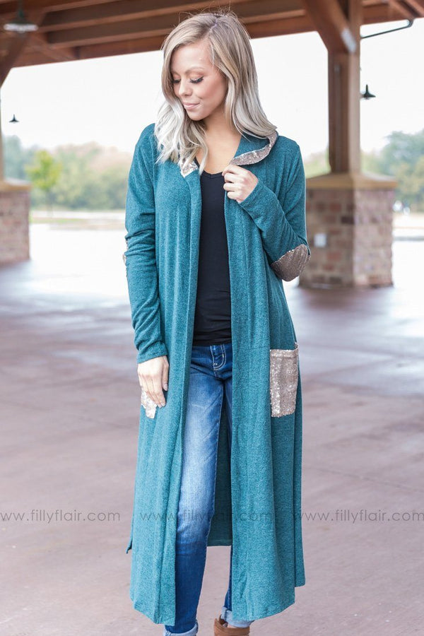 All Time Feeling Long Teal Cardigan With Gold Sequins - Filly Flair