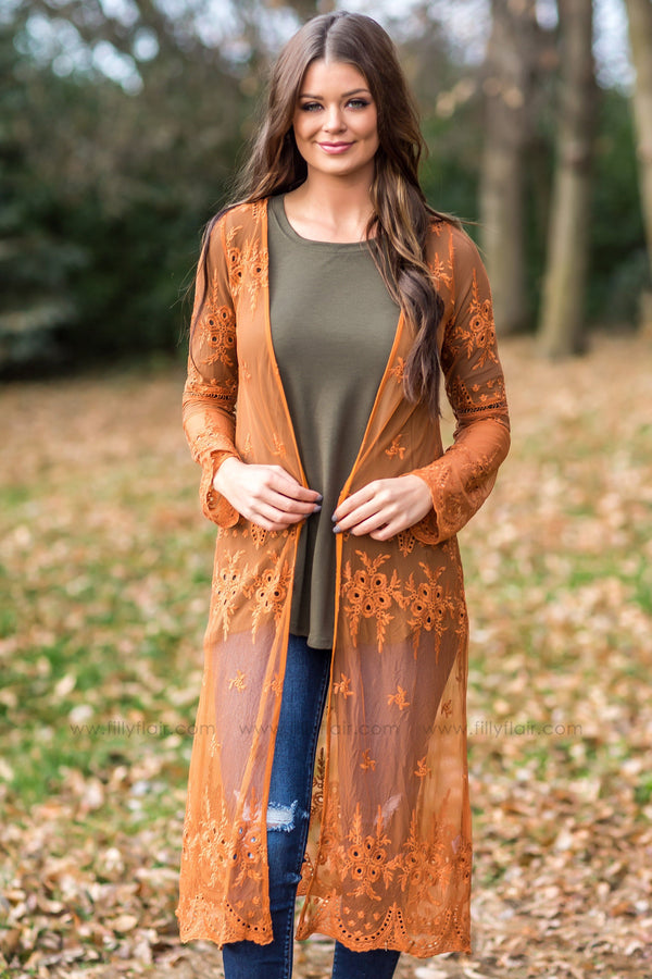 Beautiful Stories Long Lace Cardigan In Rust - Filly Flair