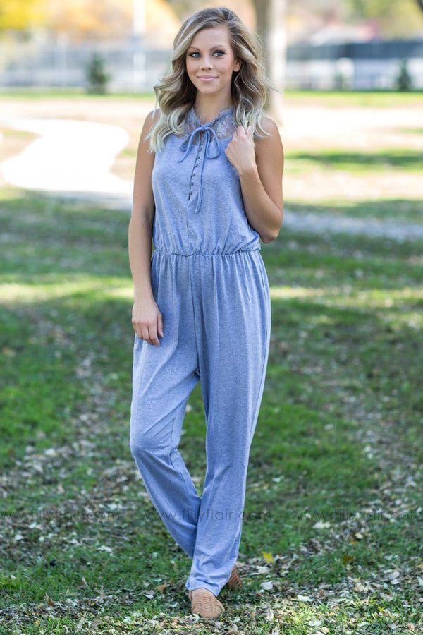 All The Feelings Lace Jumpsuit in Heather Grey - Filly Flair