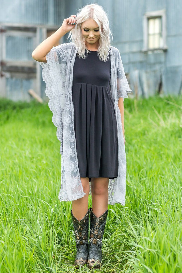 Doesn't Get Any Better Long Lace Drawstring Kimono In Grey