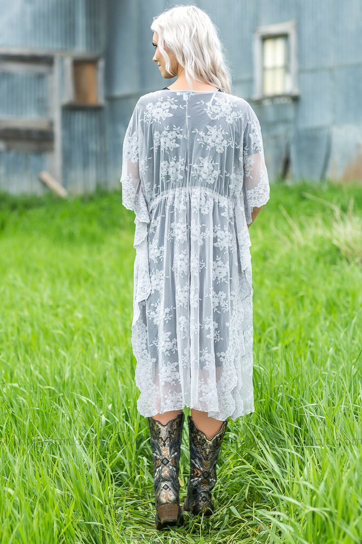 Doesn't Get Any Better Long Lace Drawstring Kimono In Grey - Filly Flair