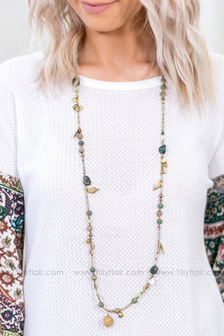 Thinking About You Long Beaded Necklace in Olive Gold - Filly Flair