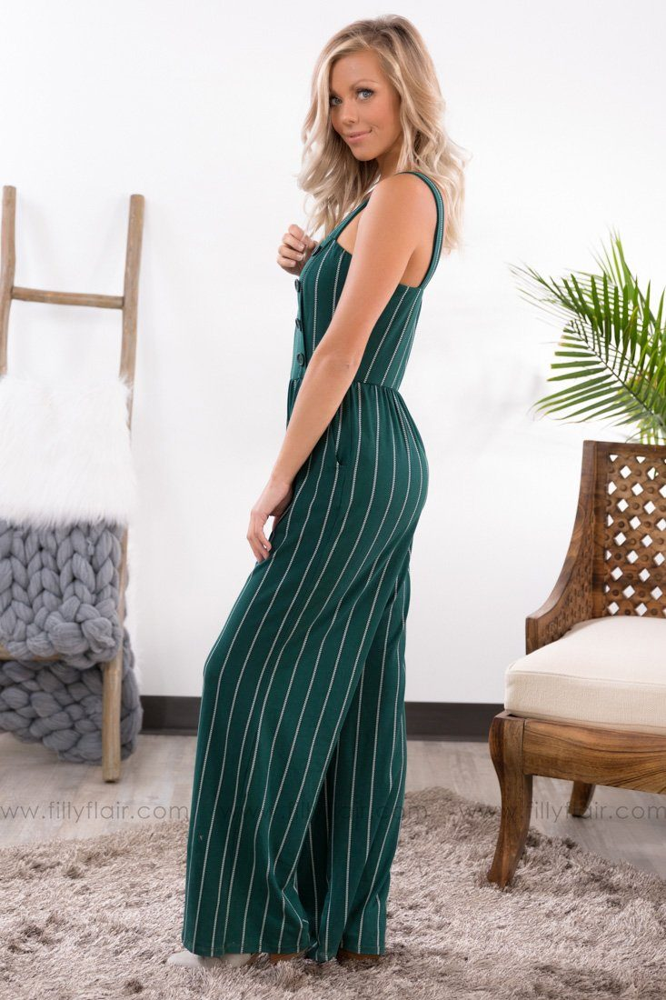 Won't Forget You Jumpsuit in Forest Green - Filly Flair