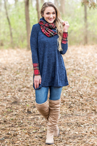 Something In You Cowl Neck Button Sweater in Teal