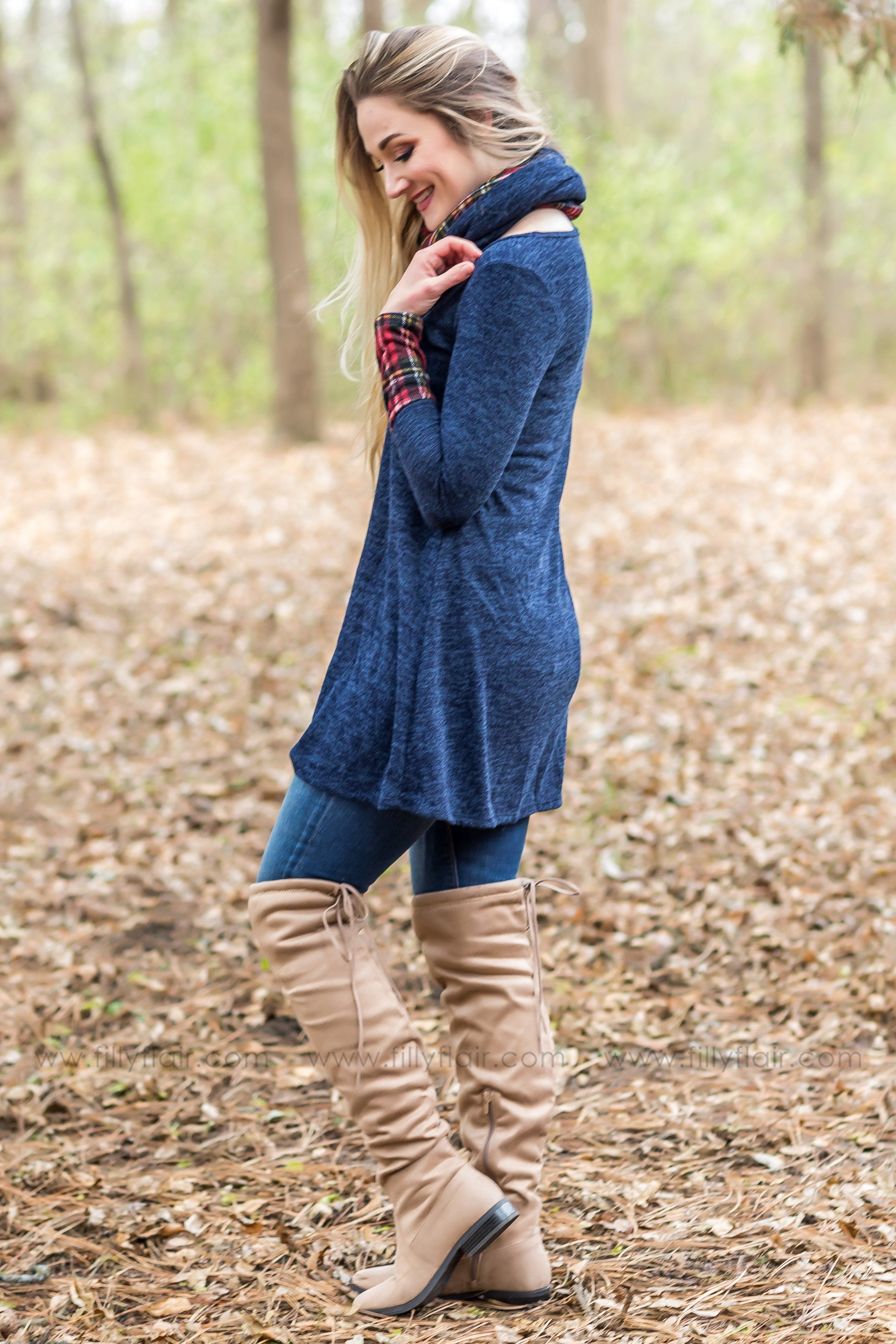 Some Kind of Way Long Sleeve Red Plaid Tunic Dress in Navy Blue - Filly Flair
