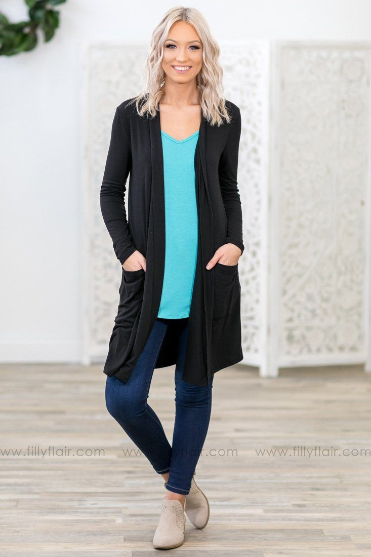 5b8a95a402 State of Mind Long Sleeve Long Cardigan in Black